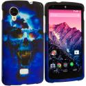 LG Google Nexus 5 Blue Skulls Hard Rubberized Design Case Cover Angle 1