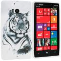 Nokia Lumia 929 Icon White Tiger TPU Design Soft Case Cover Angle 1