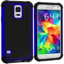 Samsung Galaxy S5 Black / Blue Hybrid Rugged Hard/Soft Case Cover Angle 1