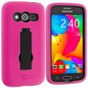 Samsung Galaxy Avant G386 Hot Pink / Black Hybrid Heavy Duty Impact Case Cover with Stand Angle 2