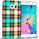 Samsung Galaxy S6 Blue Checkered TPU Design Soft Rubber Case Cover Angle 1