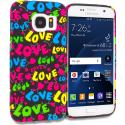 Samsung Galaxy S7 Colorful Love on Black TPU Design Soft Rubber Case Cover Angle 1