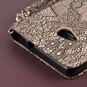 Microsoft Lumia 535 - Black Lace MPERO FLEX FLIP Wallet Case Cover Angle 7