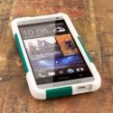 HTC One Mini- TEAL / WHITE MPERO IMPACT X - Kickstand Case Cover Angle 2