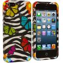 Apple iPhone 5/5S/SE Rainbow Butterfly Zebra Hard Rubberized Design Case Cover Angle 2