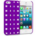 Apple iPhone 5/5S/SE Purple Handwoven Hard Rubberized Back Cover Case Angle 1