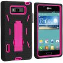 LG Splendor US730 Black / Hot Pink Hybrid Heavy Duty Hard/Soft Case Cover with Stand Angle 2