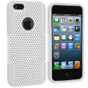 Apple iPhone 5/5S/SE White / White Hybrid Mesh Hard/Soft Case Cover Angle 2