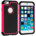 Apple iPhone 6 6S (4.7) Black / Hot Pink Hybrid Rugged Hard/Soft Case Cover Angle 1