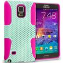 Samsung Galaxy Note 4 Hot Pink / Mint Green Hybrid Mesh Hard/Soft Case Cover Angle 1