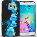 Samsung Galaxy S6 Blue Flowers TPU Design Soft Rubber Case Cover Angle 1