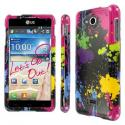 LG Spirit 4G - Black Paint Splatter MPERO SNAPZ - Glossy Case Cover Angle 1