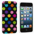Apple iPhone 5/5S/SE Black / Colorful TPU Polka Dot Skin Case Cover Angle 2
