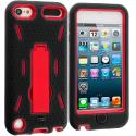 Apple iPod Touch 5th 6th Generation Black / Red Hybrid Heavy Duty Hard/Soft Case Cover with Stand Angle 2