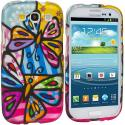 Samsung Galaxy S3 Colorful Butterfly Hard Rubberized Design Case Cover Angle 1
