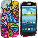 Samsung Galaxy S3 Colorful Butterfly Hard Rubberized Design Case Cover Angle 2