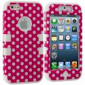 Apple iPhone 5/5S/SE Hot Pink Polka Dot / White Hybrid Tuff Hard/Soft 3-Piece Case Cover Angle 1