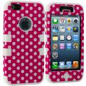 Apple iPhone 5/5S/SE Hot Pink Polka Dot / White Hybrid Tuff Hard/Soft 3-Piece Case Cover Angle 2