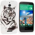 HTC Desire 510 512 White Tiger TPU Design Soft Rubber Case Cover Angle 1