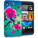 HTC Desire 816 Blue Bird Pink Flower TPU Design Soft Rubber Case Cover Angle 1