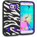 Samsung Galaxy S6 Zebra Purple Hybrid Deluxe Hard/Soft Case Cover Angle 1