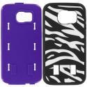 Samsung Galaxy S6 Zebra Purple Hybrid Deluxe Hard/Soft Case Cover Angle 8