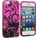 Apple iPhone 5/5S/SE Black Swirls Hard Rubberized Design Case Cover Angle 1