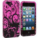 Apple iPhone 5/5S/SE Black Swirls Hard Rubberized Design Case Cover Angle 2