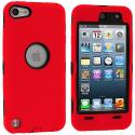 Apple iPod Touch 5th 6th Generation Red Deluxe Hybrid Deluxe Hard/Soft Case Cover Angle 1