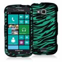Samsung ATIV Odyssey Black / Baby Blue Zebra Hard Rubberized Design Case Cover Angle 1