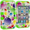 Apple iPhone 4 / 4S Green / Bubbles Hybrid Tuff Hard/Soft 3-Piece Case Cover Angle 1