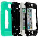 Apple iPhone 4 / 4S Mint Green / Black Hybrid Heavy Duty Hard/Soft Case Cover with Stand Angle 2
