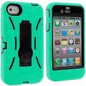 Apple iPhone 4 Mint Green / Black Hybrid Heavy Duty Hard/Soft Case Cover with Stand Angle 3