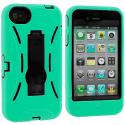 Apple iPhone 4 Mint Green / Black Hybrid Heavy Duty Hard/Soft Case Cover with Stand Angle 4