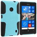 Nokia Lumia 520 Black / Baby Blue Hybrid Mesh Hard/Soft Case Cover Angle 1