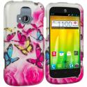 ZTE Radiant Pink Colorful Butterfly 2D Hard Rubberized Design Case Cover Angle 1