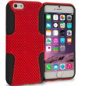 Apple iPhone 6 6S (4.7) Black / Red Hybrid Mesh Hard/Soft Case Cover Angle 1