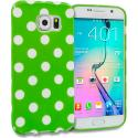 Samsung Galaxy S6 Neon Green / White TPU Polka Dot Skin Case Cover Angle 1