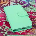 Samsung Galaxy S4 - Mint Green MPERO Leather Wallet Credit Card Case Cover Angle 2