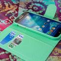 Samsung Galaxy S4 - Mint Green MPERO Leather Wallet Credit Card Case Cover Angle 4
