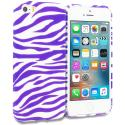 Apple iPhone 5/5S/SE Purple / White Zebra TPU Design Soft Rubber Case Cover Angle 1