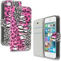 Apple iPhone 5/5S/SE Bowknot Zebra Design Wallet Flip Pouch Case Cover with Credit Card ID Slots Angle 1