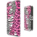 Apple iPhone 5/5S/SE Bowknot Zebra Design Wallet Flip Pouch Case Cover with Credit Card ID Slots Angle 2