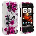 HTC Droid Incredible 6300 Red Flowers Design Crystal Hard Case Cover Angle 1