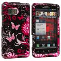 Motorola Droid Bionic XT875 Pink Butterfly Flowers Design Crystal Hard Case Cover Angle 1