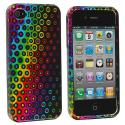 Apple iPhone 4 / 4S Rainbow Dots Design Crystal Hard Case Cover Angle 1
