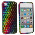 Apple iPhone 4 / 4S Rainbow Dots Design Crystal Hard Case Cover Angle 2