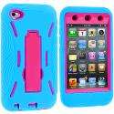 Apple iPod Touch 4th Generation Baby Blue / Hot Pink Hybrid Heavy Duty Hard/Soft Case Cover with Stand Angle 2
