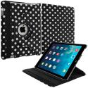 Apple iPad Mini Black White Polka Dot 360 Rotating Case Cover Pouch Stand Angle 1