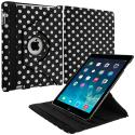 Apple iPad Mini Black White Polka Dot 360 Rotating Case Cover Pouch Stand Angle 2